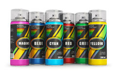 Color spray paint cans stock illustration
