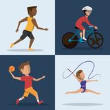 Color square buttons set of athletes of differents olympic sports. Vector illustration Stock Photo