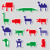 Color square digital simple retro animals stickers Stock Image