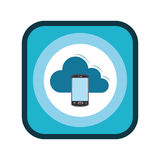 Color square frame with smartphone cloud service Stock Photography