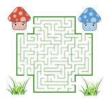 Color square maze. Game for kids. Puzzle for children. Help the cute mushrooms meet. Labyrinth conundrum. Flat vector illustration vector illustration