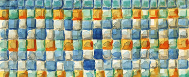 Color squares. Watercolors paint on the white paper. Handmade. Texture Stock Photos