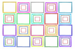 Color squares Wood Picture Frame. On white background vector illustration