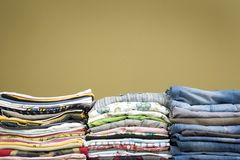 Color stacked clothes Royalty Free Stock Image