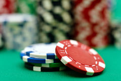 Color stacks of poker chip Royalty Free Stock Photography