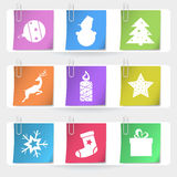 Color stapled christmas cards. Eps10 illustration Stock Images