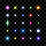 Color starburst, stars and sparkles glowing burst. Colored starburst, stars and sparkles burst glowing light effect on transparent background. Transparent star Royalty Free Stock Photos