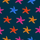 Color starfish on blue background. Pattern starfish illustration in realistic stule. vector illustration royalty free illustration