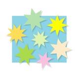 Color stars. Background illustration, on blue Stock Photo