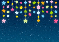 Color stars on blue sky Stock Photography