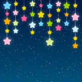 Color stars on blue sky background. Color stars on night sky background Stock Images