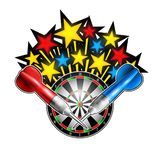 Color stars flaing out from dartboard with red and blue darts. Sport logo for any darts game or championship on white. Color stars flaing out from dartboard with stock illustration