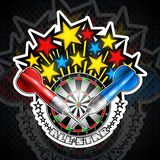 Color stars flaing out from dartboard with red and blue darts. Sport logo for any darts game or championship stock illustration