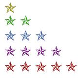 Color stars rating 1 through 5. A series of stars in multiple colors, arranged in rows of 1 through 5 could denote rating for service or products royalty free illustration