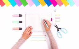 Color stationery set stock photos