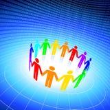 Color stick figures holding hands on globe backgr. Original Vector Illustration: different color stick figures holding hands on blue globe background AI8 stock illustration