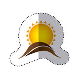 Color sticker with abstract sun over hill of land Royalty Free Stock Photos