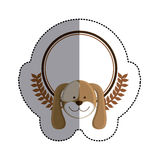 Color sticker circle with dog head and olive branchs and middle shadow Stock Photo