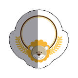Color sticker circle with lion head and olive branchs and middle shadow Stock Images