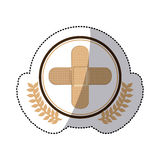 Color sticker with circle with olive branchs and band aid in cross form Royalty Free Stock Photos