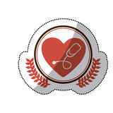 Color sticker with circle with olive branchs and heart with stethoscope inside. Illustration Royalty Free Stock Image
