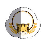 Color sticker circle with tiger head and olive branchs and middle shadow Royalty Free Stock Photography