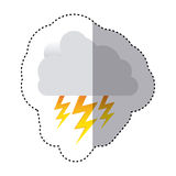 Color sticker of cloud with lightnings Royalty Free Stock Image
