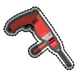 Color sticker with drill tool. Vector illustration Stock Image