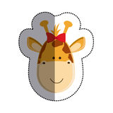 Color sticker with female giraffe head and middle shadow Stock Image