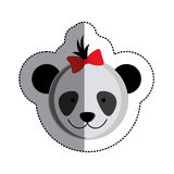 Color sticker with female panda head and middle shadow. Illustration Royalty Free Stock Images