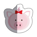 Color sticker with female pig head and middle shadow Royalty Free Stock Photos