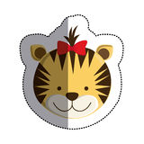 Color sticker with female tiger head and middle shadow Royalty Free Stock Photography