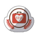 Color sticker with firts aid kit with symbol line of vital sign in heart inside circle with olive branchs. Illustration Stock Photo