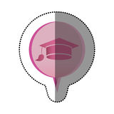 Color sticker with graduation hat icon in circular speech. Illustration Stock Images