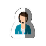 Color sticker with half body of female customer service without face. Illustration Royalty Free Stock Image
