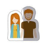 Color sticker half body with man with beard and woman with long hair Royalty Free Stock Photo