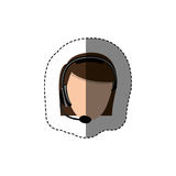 Color sticker with head of female customer service without face. Illustration Stock Image