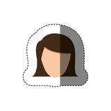 Color sticker with head of woman with short hair without face Stock Photos