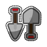Color sticker with pair of shovels Royalty Free Stock Image