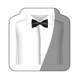 color sticker shirt with bow tie icon Royalty Free Stock Photography