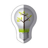 color sticker silhouette with bulb light and green tree growing Stock Photography