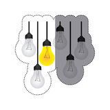 color sticker silhouette with set of bulb lights Royalty Free Stock Photo