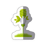 color sticker silhouette with spiral fluorescent lamp with leaves and grass Stock Image