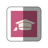 Color sticker square with graduation hat icon. Illustration Royalty Free Stock Photo