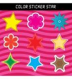 Color sticker star. Pink star sticker set for design vector illustration