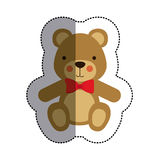 Color sticker with teddy bear with bow tie and middle shadow. Vector illustration Stock Images