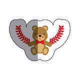 Color sticker with teddy bear with bow tie and olive branchs and middle shadow. Illustration Royalty Free Stock Photos