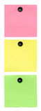 Color stickers pinned pushpin like traffic light Stock Photography