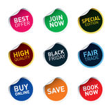 Color  stickers SAVE, FAIR TRADE, JOIN NOW, BEST OFFER Royalty Free Stock Images