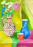 Color still-life with ceramic jugs on table Royalty Free Stock Photos